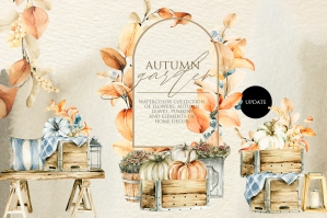 Autumn Floral Watercolor Clipart - Fall Harvest