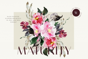 Watercolor Flowers Clipart Collection