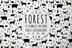 Black and White Forest Set