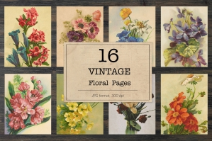 Floral Book Pages & Junk Journal Kit