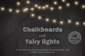 Chalkboards and Fairy Lights Clipart