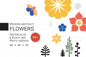 Modern Abstract Flowers Collection