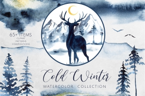 Cold Winter Watercolor Collection