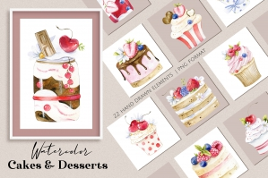 Watercolor Cakes Collection