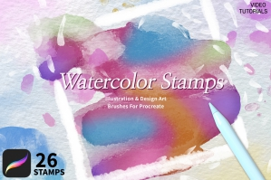 26 Watercolor Stamps Brushes for Procreate