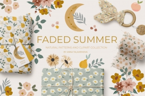 Faded Summer Natural Pattern Clipart