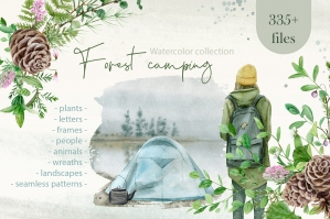 Watercolor Camping Clipart