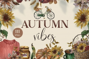 Watercolor Clipart Autumn Flowers and Pumpkins