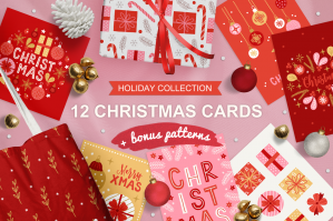 12 Christmas Greeting Cards & 3 Patterns