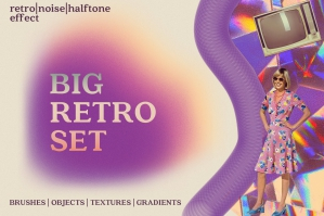 Retro Set Effects Brushes Gradients