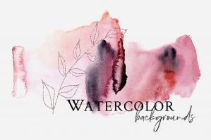 Watercolor Backgrounds - Burgundy and Golden