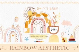 Rainbow Aesthetic - Cute Abstract Watercolors