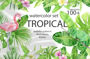 Watercolor Tropical Clipart Set Flowers and Animals