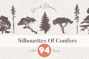 Silhouettes of Pine and Fir Trees