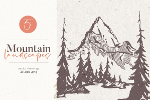 Hand Drawn Mountain Landscapes