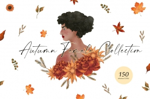Autumn Female Collection Flowers and Girls