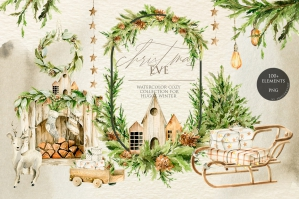 Christmas Holiday Home Watercolor Winter Collection