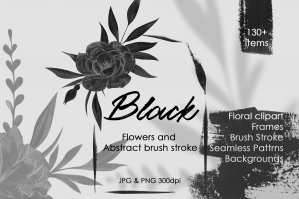 Black Flowers Gouache Illustrations And Abstract Clipart