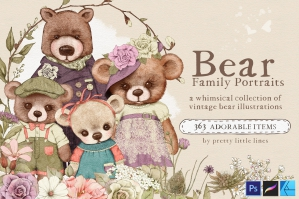 Bear Family Portraits – A Whimsical Collection of Vintage Bear Illustrations