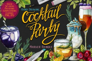 Cocktail Party Food Illustrations