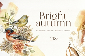 Bright Autumn Watercolor Fall Flowers