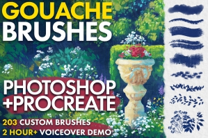 Gouache Brushes for Photoshop and Procreate