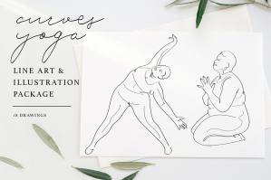 Curves Yoga Line Art and Illustration Package