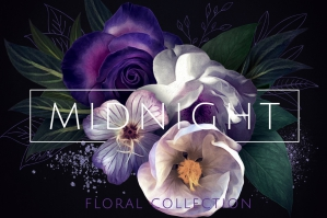 Floral Painted Clipart and Monogram Letters