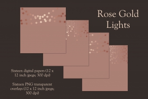 Rose Gold Lights Clipart and Backgrounds