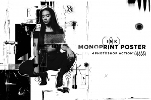 Ink Monoprint Poster PS Action