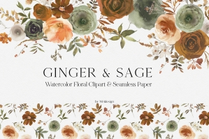 Ginger & Sage Watercolor Floral Clipart