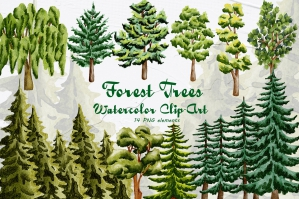 Forest Trees Watercolor Set