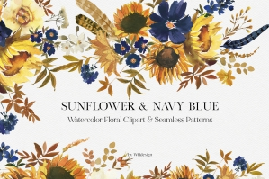 Sunflower and Navy Blue Watercolor Floral Clipart