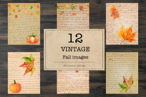 Vintage Fall Digital Paper - Old Autumn Letters