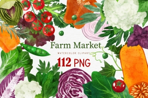 Vegetables, Herbs Watercolor Clipart