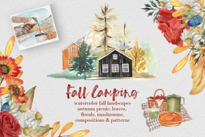 Fall Camping Forest Houses and Landscapes Watercolor