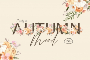 Autumn Mood Watercolor Flower Collection