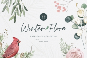 Winter Flora Watercolor Collection