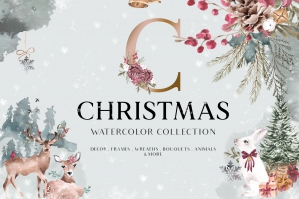 Christmas Winter Watercolor Collection