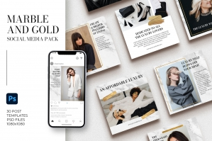 Marble and Gold Instagram Templates