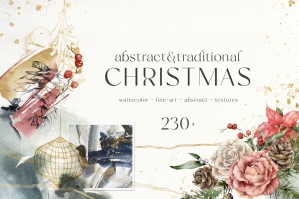 Abstract & Traditional Christmas Watercolor Collection