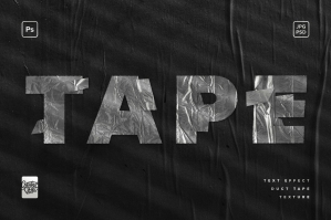 Duct Tape Text Effect Mockup