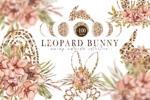 Floral Watercolor Easter Leopard Bunny Collection