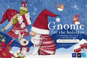 Gnome for the Holidays - A Magical Collection of Gnome Illustrations