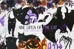 Halloween Cats Watercolor Floral Clipart