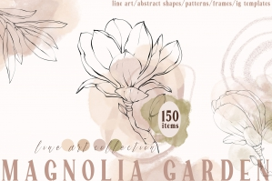 Magnolia Floral Line Art and Abstract Collection