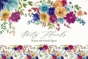 Bright Rainbow Watercolor Floral Clipart
