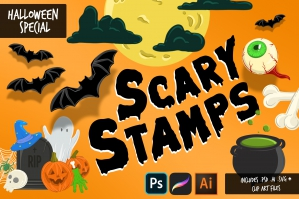 Scary Stamps Halloween Special - Procreate Brushes & More