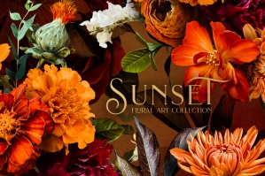 Sunset Floral Art Collection