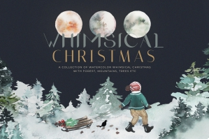 Whimsical Christmas Watercolor Bundle Winter Clipart